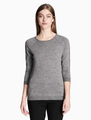 Calvin Klein marled studded 3/4 sleeve top