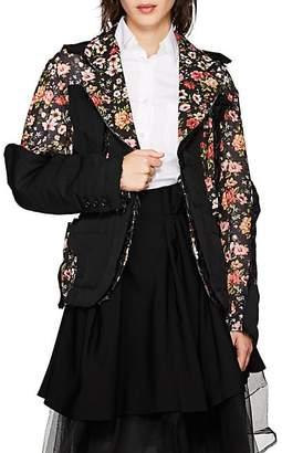 Comme des Garcons Women's Cutout Floral Crepe Two-Button Blazer - Black