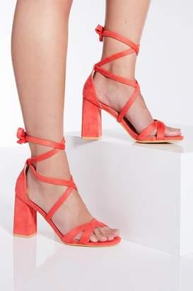 31d5d5ce05 Quiz White Tie Up Block Heel Sandals
