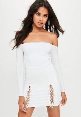 Missguided White Slinky Bardot Mini Dress