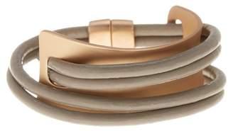 Saachi Taupe Gladiator Wrap Leather Bracelet