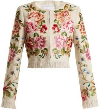 Andrew Gn Floral-embroidered linen-blend jacket