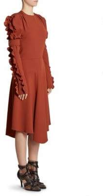 Chloé Ruffle-Sleeve Midi Dress