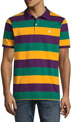 U.S. Polo Assn. USPA Embroidered Short Sleeve Stripe Jersey Polo Shirt