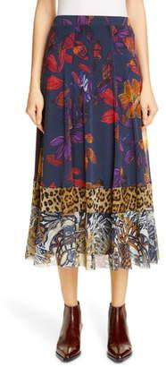 Fuzzi Patchwork Leopard Midi Skirt