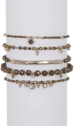 Kendra Scott Supak Beaded Faceted Stone & CZ Stretch Bracelets - Set of 5