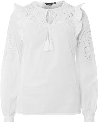 Dorothy Perkins Womens White Broderie Frill Top