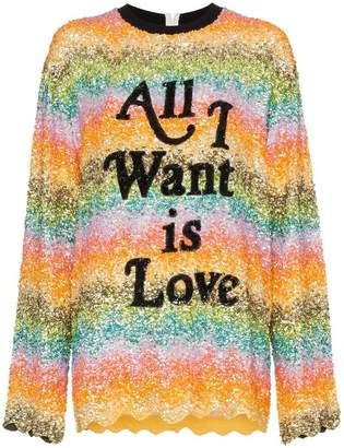Ashish all I want is love sequin embellished sweatshirt