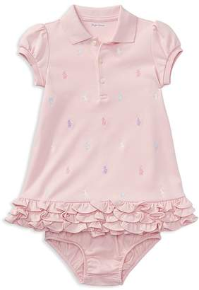 Ralph Lauren Girls' Ruffled & Embroidered Polo Dress with Bloomers - Baby