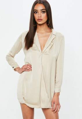 Missguided Camel Cross Over Wrap Shirt Dress