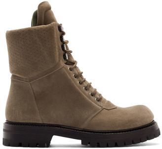 Rick Owens Grey Army Hiking Boots