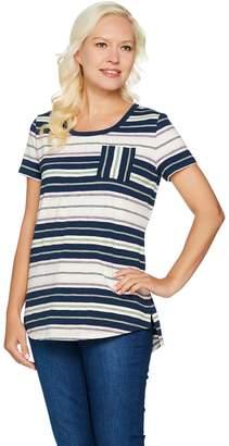 Isaac Mizrahi Live! TRUE DENIM Striped Slub Knit T-shirt