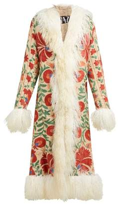ZAZI Vintage Suzani Embroidered Shearling Coat - Womens - White Multi