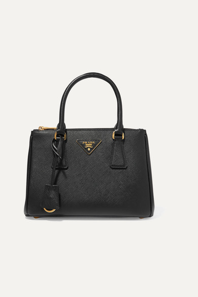prada Prada - Galleria Small Textured-leather Tote - Black