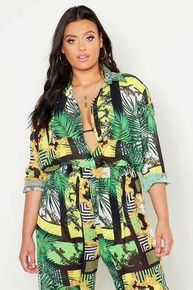boohoo Plus Chain Print Oversized Beach Shirt