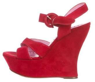Saint Laurent Suede Ankle Strap Wedges
