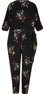River IslandRiver Island Womens Plus black floral print jumpsuit