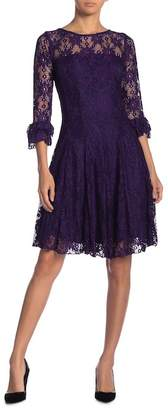 Gabby Skye Lace 3\u002F4 Sleeve Fit & Flare Dress