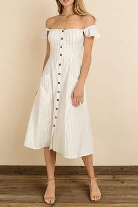 Dress Forum Pinstripe Flutter Midi