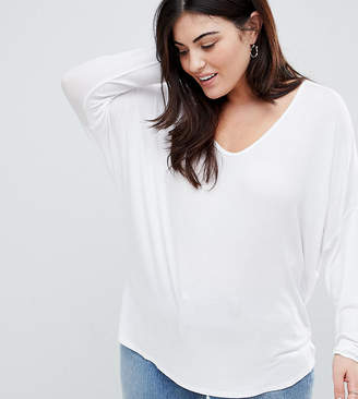 Asos DESIGN Curve top with batwing long sleeve in white