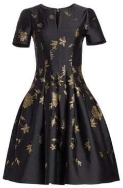 Oscar de la Renta Metallic Floral Structured Flare Dress