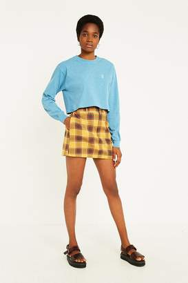 Urban Outfitters Yellow Plaid Tailored Mini Skirt