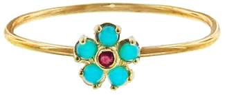 Jennifer Meyer Turquoise and Ruby Flower Stacking Ring