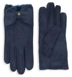 UGG Naveah Bow Shearling-Trimmed Gloves