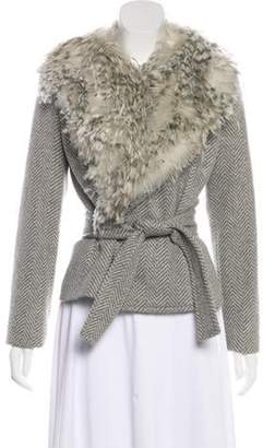 Michael Kors Cashmere Feather-Accented Jacket Grey Cashmere Feather-Accented Jacket
