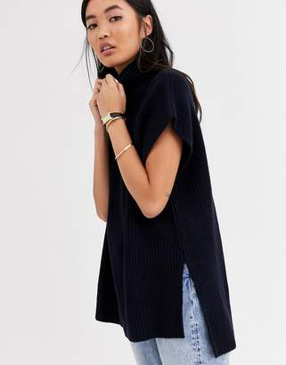 And other stories &  high neck sleeveless jumper in dark navy