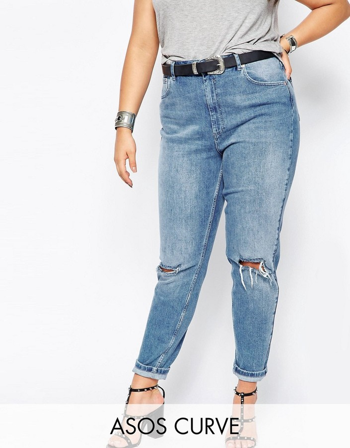 ASOS Curve ASOS CURVE Farleigh Slim Mom Jeans in Prince Light Wash with Busted Knees