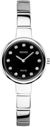 Seiko Women Solar Diamond Accent Stainless Steel Bangle Bracelet Watch 22mm SUP365