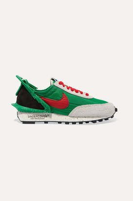 Nike Undercover Daybreak Leather-trimmed Shell And Suede Sneakers - Green