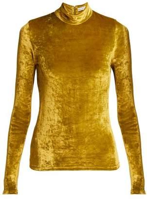 Sonia Rykiel Saint Germain High Neck Velvet Top - Womens - Yellow