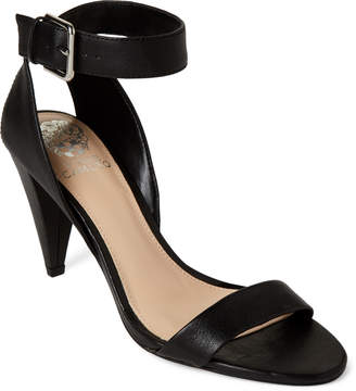 Vince Camuto Black Caitriona Ankle Strap Leather Sandals
