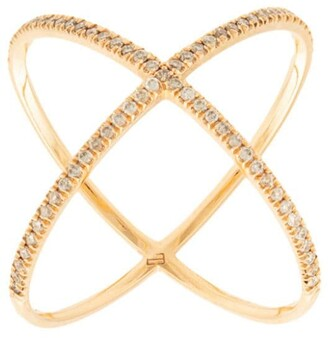 Eva Fehren 18kt rose gold X diamond ring