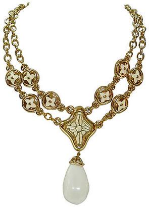 One Kings Lane Vintage Givenchy Milk Glass Enhancer Necklace - Wisteria Antiques Etca