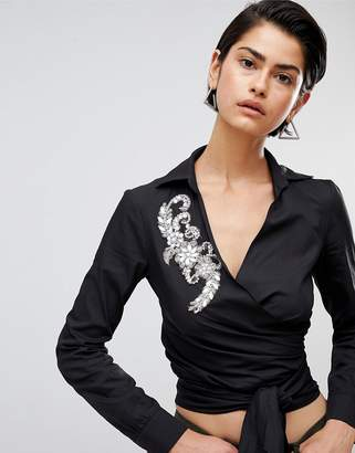 Forever Unique Woven Wrap Blouse