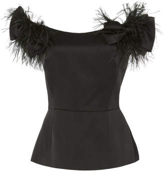 Marchesa Ostrich Feather Embroidered Off Shoulder Top