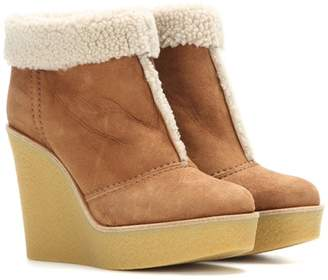Chloé Suede and shearling wedge ankle boots