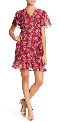 Sharagano Floral Mock Wrap Dress (Petite)