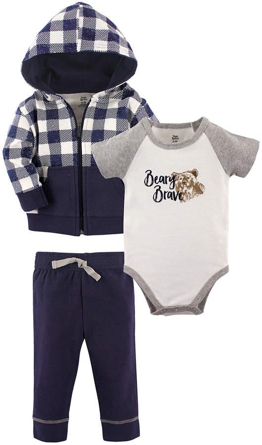Navy Plaid Hoodie Set - Infant