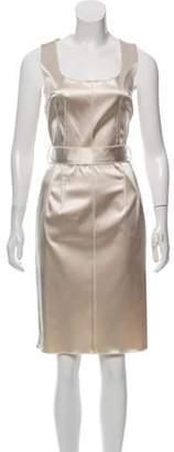 Dolce & Gabbana Satin Knee-Length Dress Beige Satin Knee-Length Dress