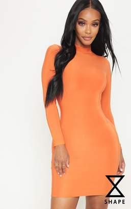 PrettyLittleThing Shape Orange Slinky High Neck Bodycon Dress