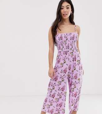 Glamorous Petite cami jumpsuit with shirring in ditsy floral