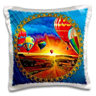 3dRose Hot air balloons and beautiful sky background, bright blue background and jewel frame, Pillow Case, 16 by 16-inch