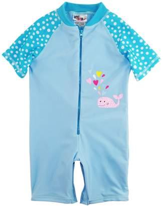 Sweet & Soft Little Girls Whale and Polka Dots 1-Piece Swimsuit Rashguard Romper, Blue