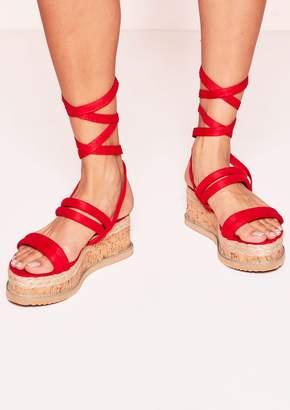 832ba97a3e97 Missy Empire Missyempire Flossie Red Faux Suede Platform Sandals