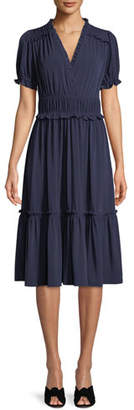 MICHAEL Michael Kors Smocked V-Neck Dress w/ Ruffles