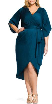 City Chic Opulent Hammered Satin Wrap Style Dress